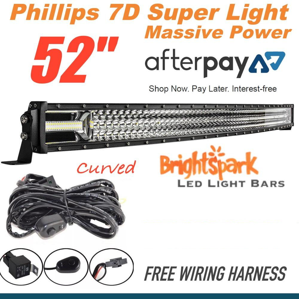 52 U0026quot  7d Curved Led Light Bar Free Wiring Harness  U2013 Brightsparkledaustralia