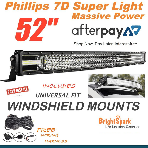 "52"" 7D. Curved Led Light Bar + Windscreen Mounts"