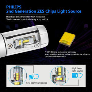 H4 9003 Philips Diamond Led Headlight, Fanless,Zes Lumiled Chip - BrightSparkLedCo