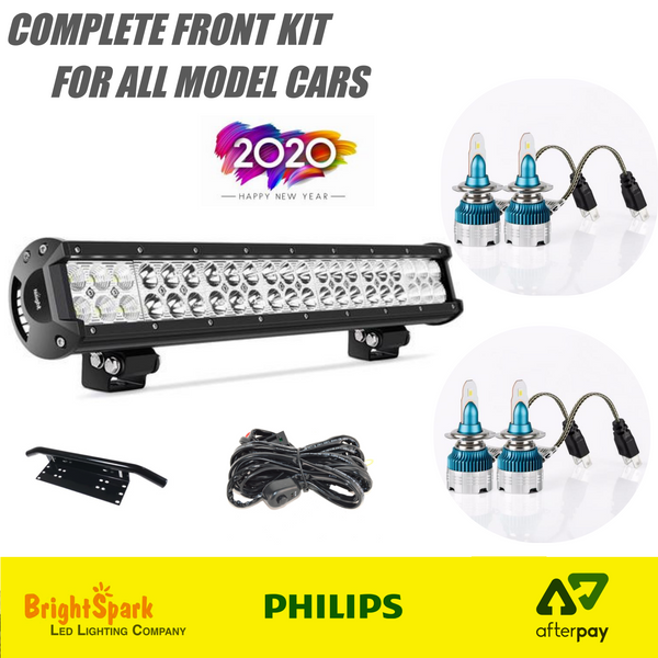 Complete Front end Led Light bar and headlight set for your car