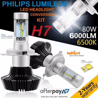 H7  Philips Diamond Led Headlight, Fanless,Zes Lumiled Chip - BrightSparkLedCo