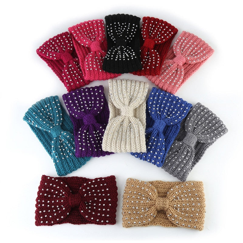 2021 New Winter Warmer Ear Knitted Headband Bow