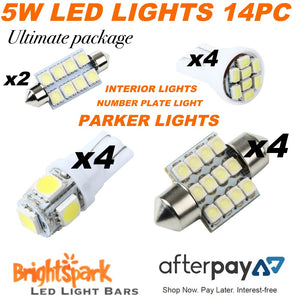 Ultimate Led 14pc Light pack,Intererior,Parker Lights,Number Plate Lights,T10 - BrightSparkLedCo