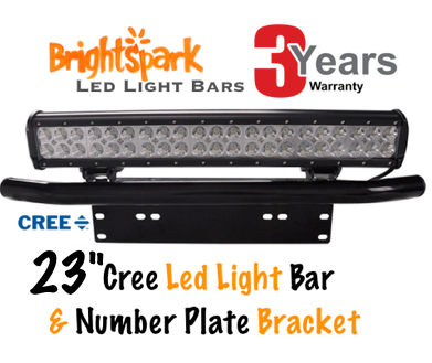 "23"" 228 WATT Cree Led Light Bar & Number Plate Bracket - BrightSparkLedCo"
