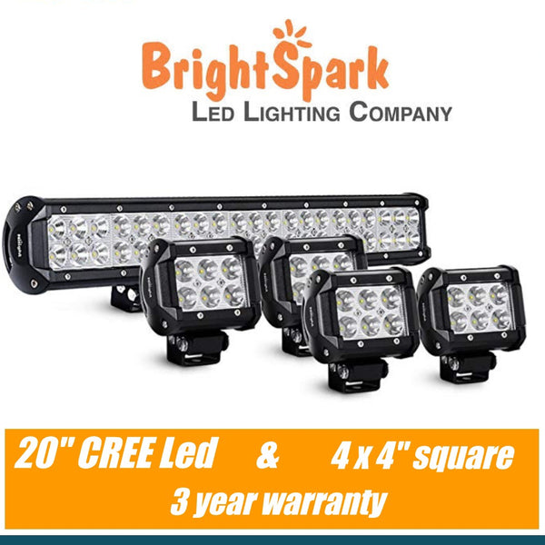 "20"" led light bar & 4 x 4"" square led lights"