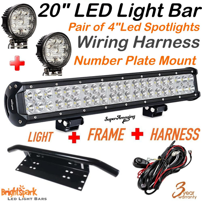 "20"" led light bar , 2 x led spotlights, wiring harness - BrightSparkLedCo"