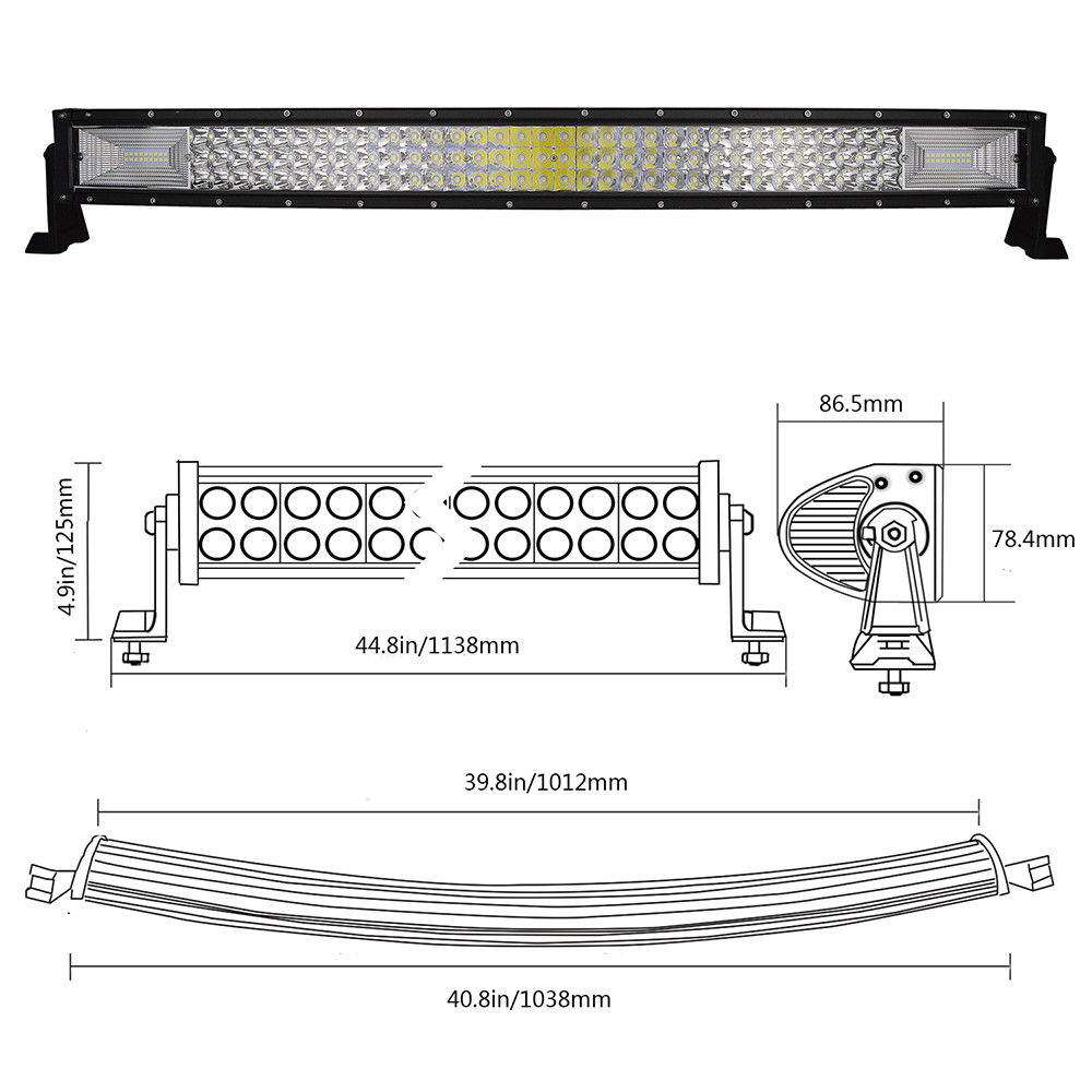 42 7d 1350watt Curved Led Light Bar Free Wiring Harness Emergency Diagram Brightsparkledco