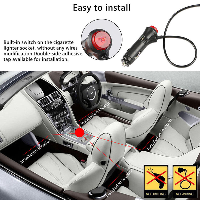 Car Interior Atmosphere Neon Lights Strip Music Control + IR Remote - BrightSparkLedCo