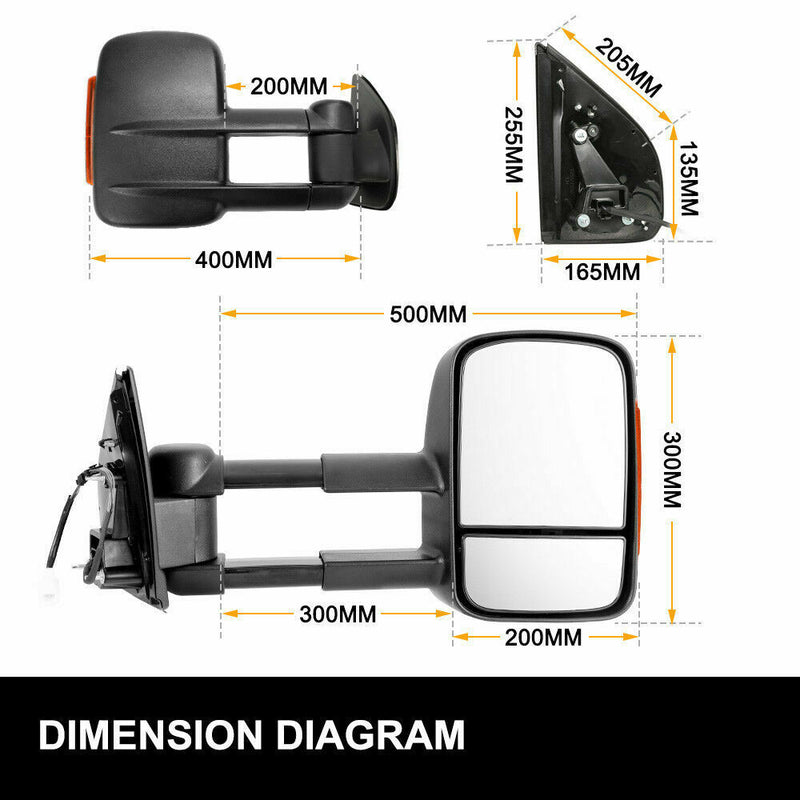 Black Pair Towing Extendable Side Mirrors,Most Models