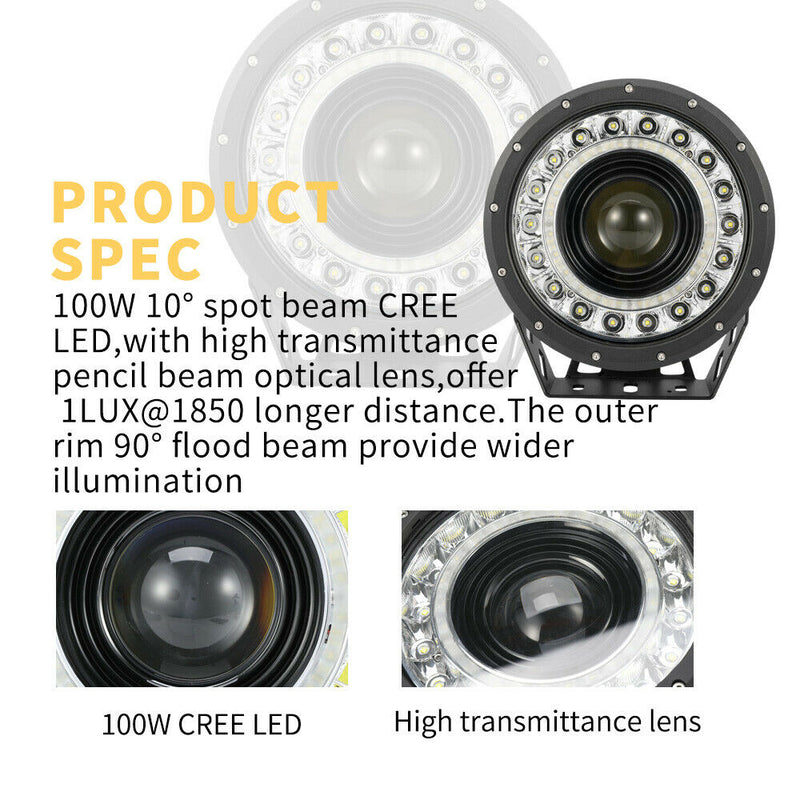 "20% OFF Pair 9""CREE LED Driving Spotlights 1lux@1850"