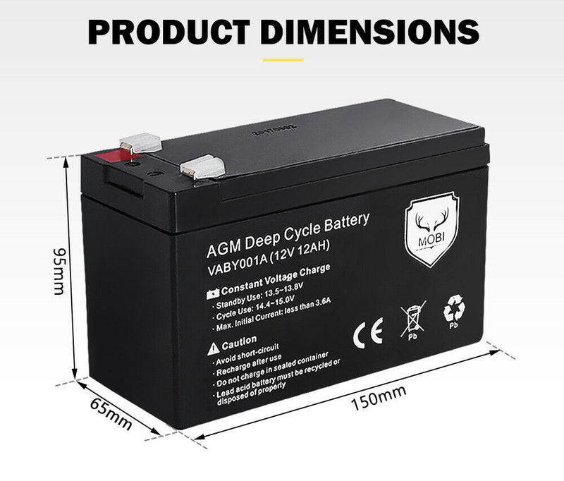 2X 12AH AGM Battery 12V AMP Lead Acid