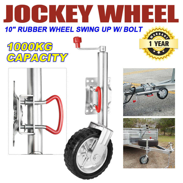 "Jockey Wheel 10"" Inch Swing Up Rubber Wheel 1000kg"