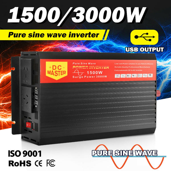 Pure Sine Wave Inverter 1500W Max 3000W Power 12V- 240V