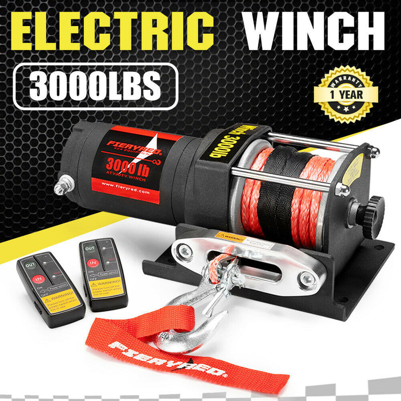 FIERYRED Wireless 3000lbs 1361kg 12V Electric Winch