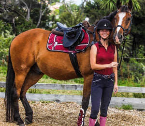 Burgundy shoe equestrian socks