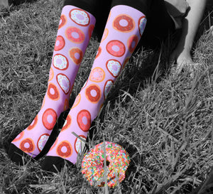 'Donut Worry' Pink Horse Riding Socks