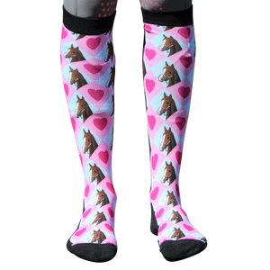 'Pony Love' Horse Riding Socks Pink