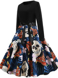 Halloween Vintage Fashion Print Dress