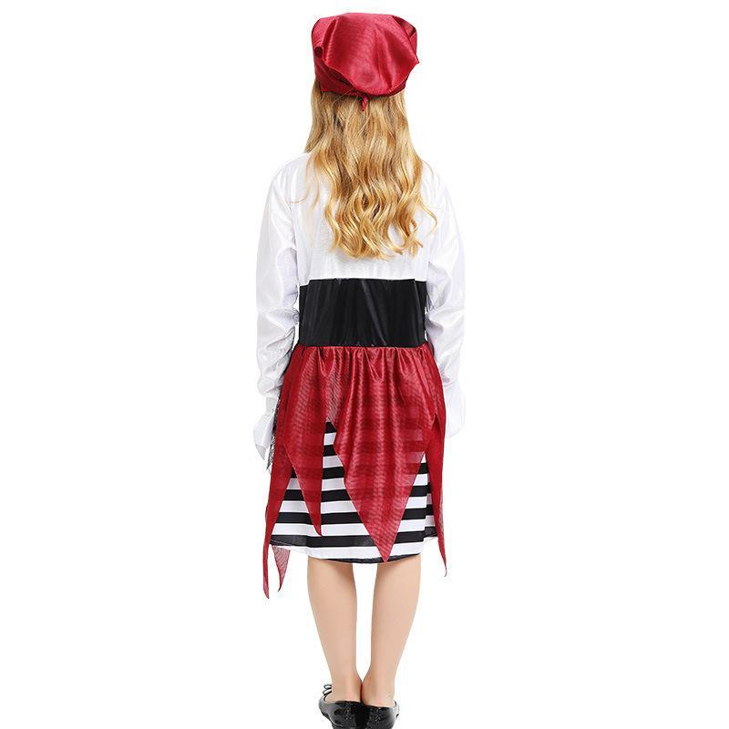 Kids Girls Pirate Costume Dress and Headpiece Set Caribbean Cosplay Halloween Costume