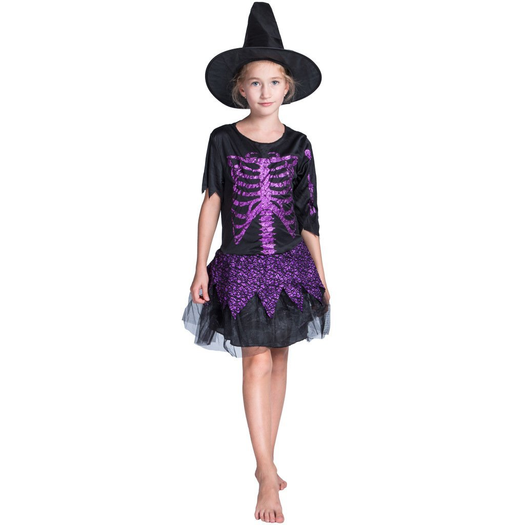 Cute Kids Girls Glitter Skull Witch Cosplay Costume Dress Cap Hat Sweet Outfit Set Halloween Party Festival Clothes