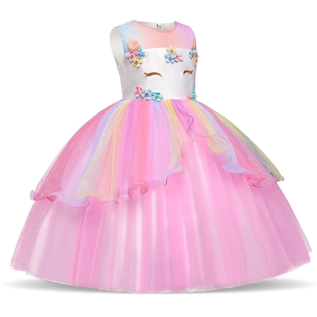Unicorn Costume Dress Girl Princess Pageant Party Dresses Flower Evening Gowns Tutu Fancy Dress