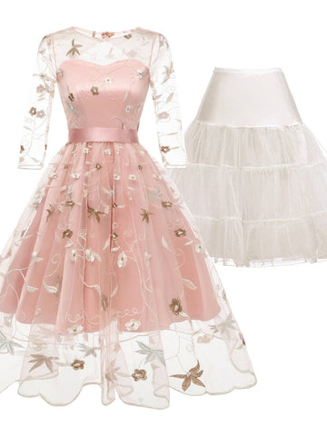 2PCS Top Seller Pink 1950s Dress & White Petticoat