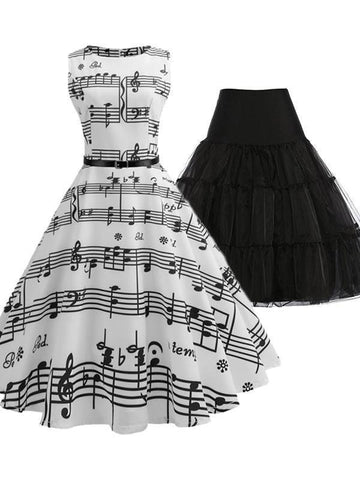 2PCS Top Seller 1950s Music Note Dress & Black Petticoat