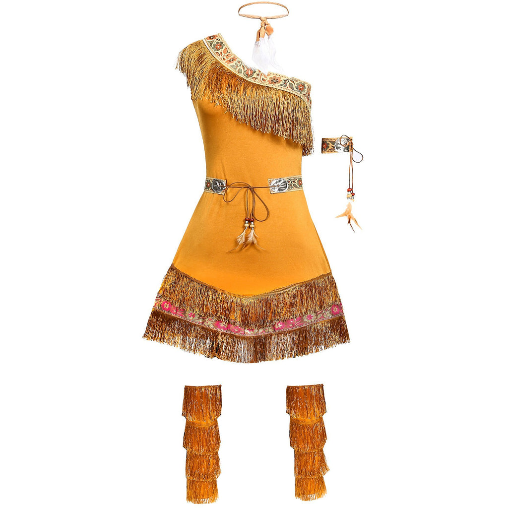 Women Native American Indian Costume Adults Halloween Brown Wild West Dress
