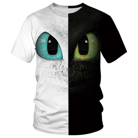 Adult O-Neck Short Sleeve 3D Digital Print Flying Dragon Toothless Summer T-Shirts