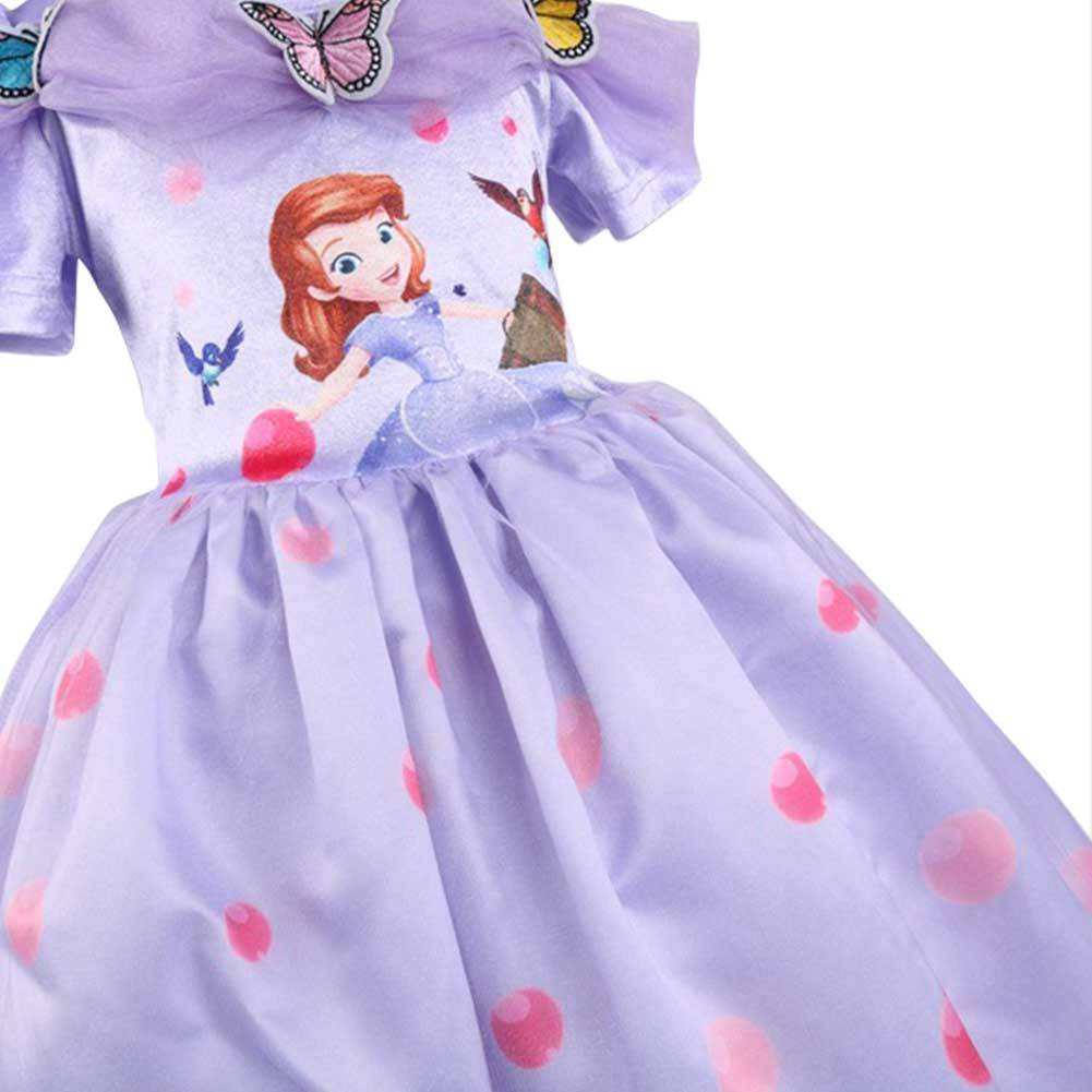 Girls Tutu Princess Dress Doll Digital Print Sleeveless Pageant Gown Dress