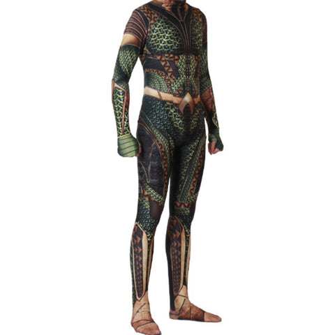 Adult Halloween Cosplay Costume Aquaman 3D Muscle Printed Bodysuit Suit Dress Up Green