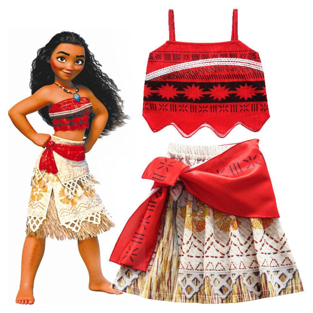 Kids Girls Moana Cosplay Costume Vaiana Dress Costume for Halloween Kids Girls Gifts
