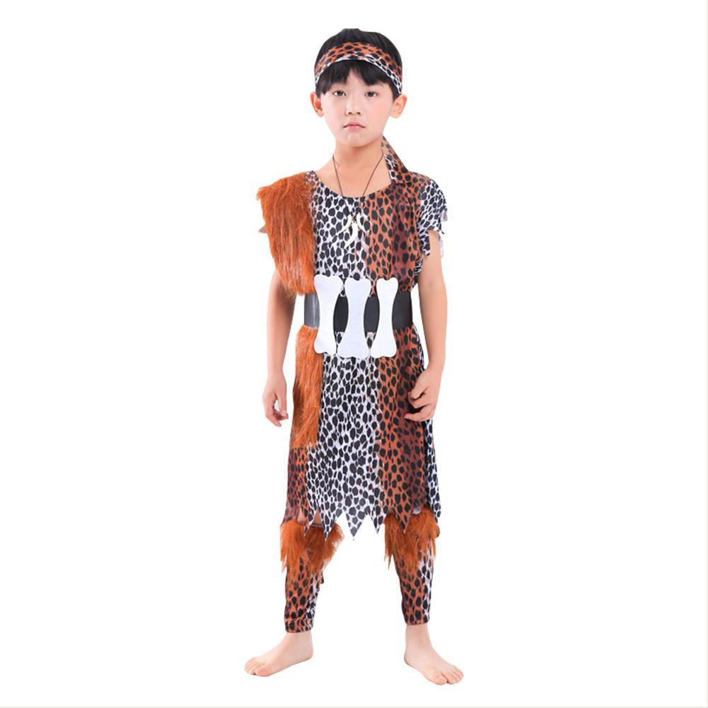 Kids Leopard Savage Caveman Croods Flintstones Primitive Costume Indian Cosplay Halloween Party Costumes