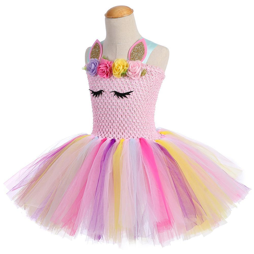 Girls Unicorn Party Tutu Outfits Fluffy Tulle Dress Costumes