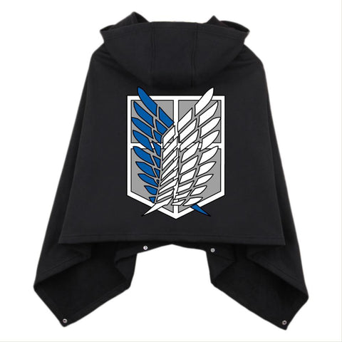 Anime Attack on Titan Shingeki No Kyojin Cloak Cosplay Cloth Black