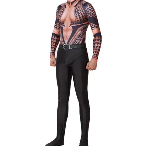 Adult Halloween Cosplay Jumpsuit Costume Aquaman 3D Muscle Printed Bodysuit Suit Dress Up