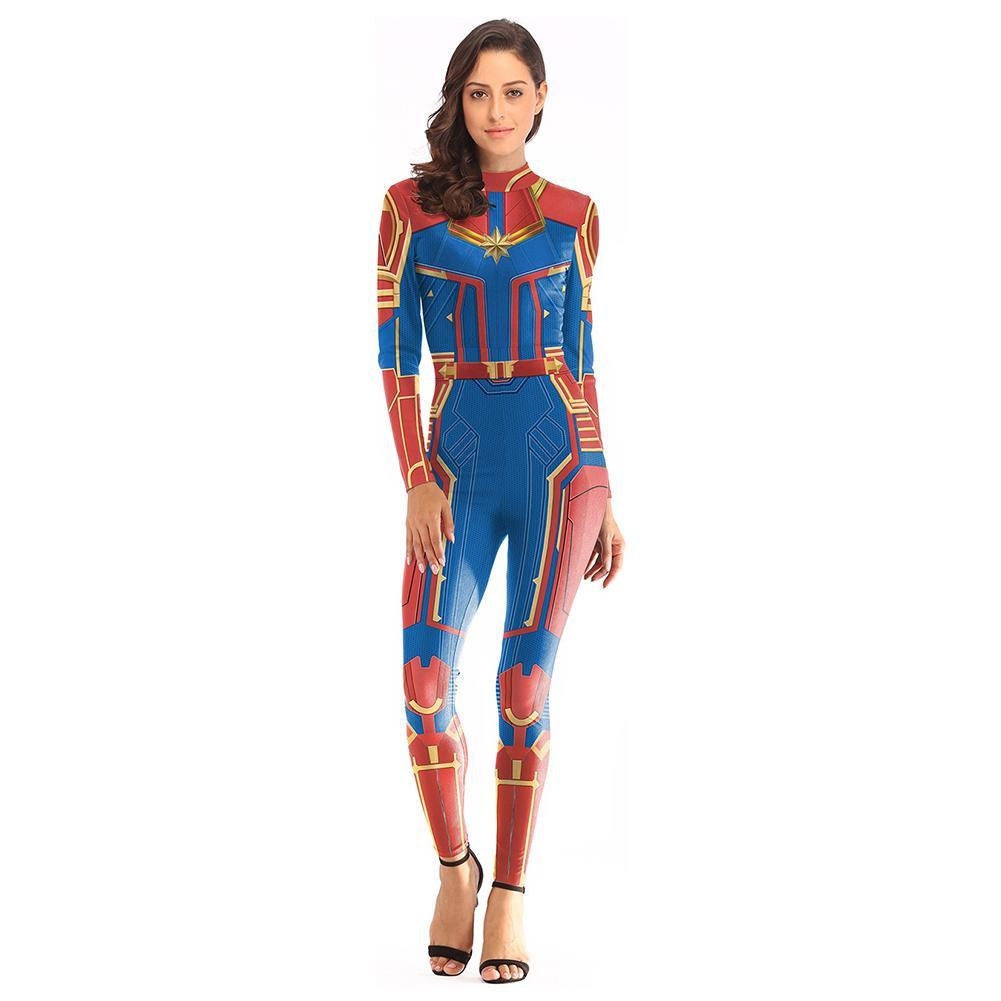 Women Captain Marvel Carol Danvers Costume Zentai Superhero Tight Bodysuit