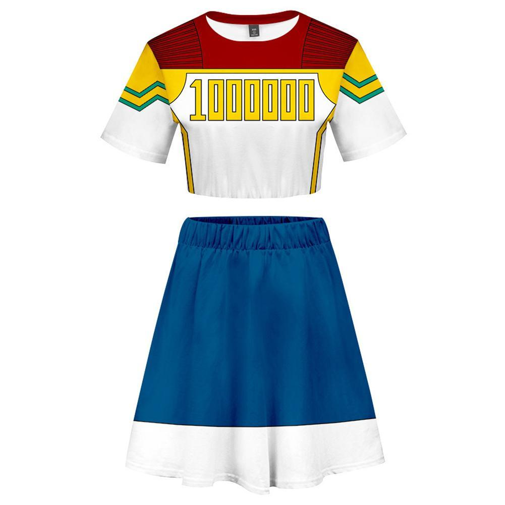 My Hero Academia 2 Pieces Le Million Outfits for Women Short Sleeves Crop Top + A Line Skirt Sets