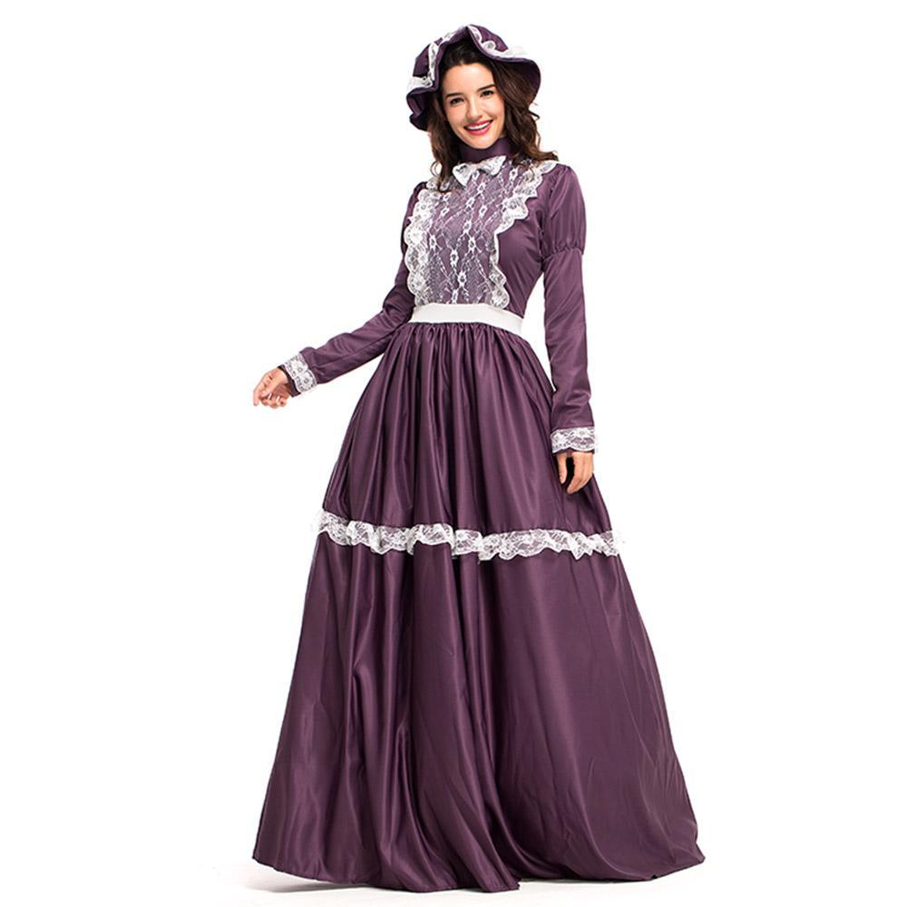 Women American Pioneer Colonial Dress Prairie Costume with Bonnet