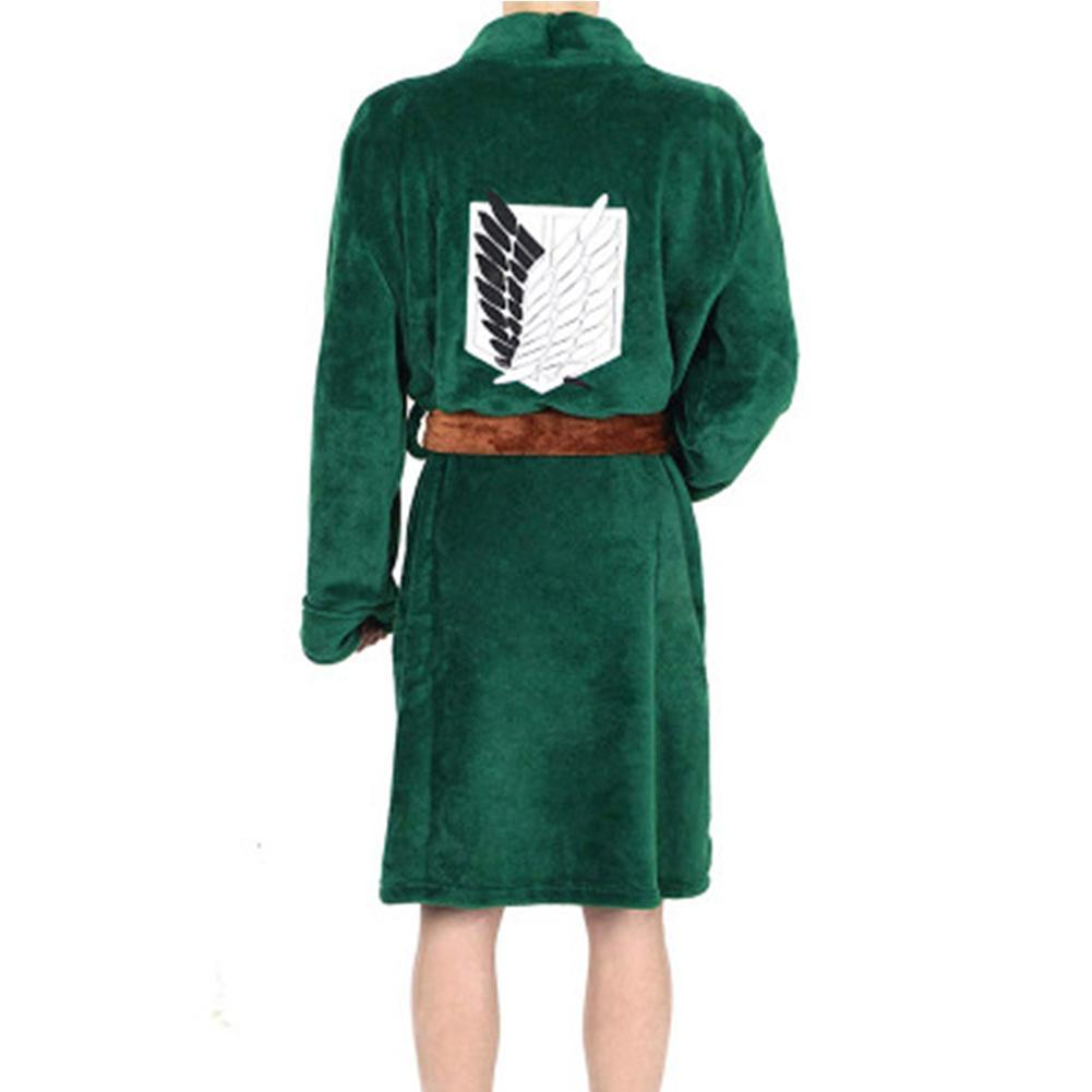 Attack On Titan Survey Corps Legion Cosplay Costume Levi Green Cloak Cape Bath Robe Long Coat