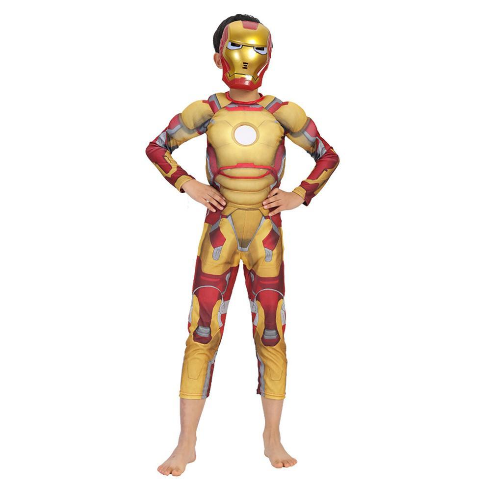 Kids Boys Iron Man Cosplay Costume Carnival Halloween Superhero Costume