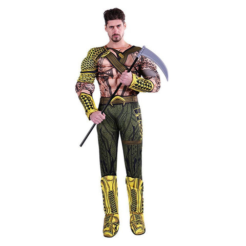 Adult Superhero Aquaman Costumes Men Muscle Jumpsuit Superhero Halloween Costumes