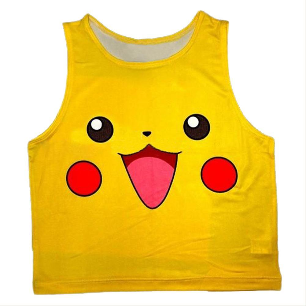 Women Pokémon Detective Pikachu Bustier Crop Top Skinny T-Shirt Sports Dance Tops Vest