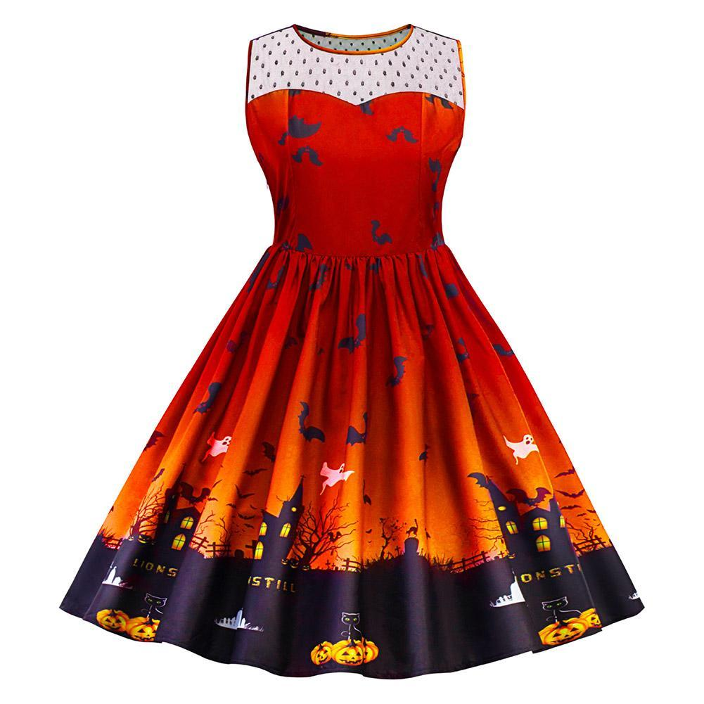 Women's 1950s Halloween Costume Dress Pumpkin Skater Swing Dress Funny Party Dress Plus Size