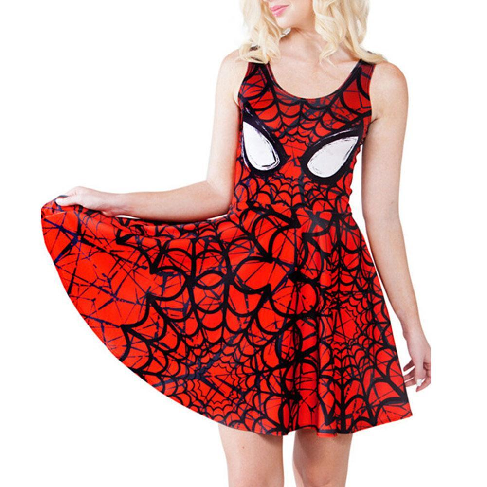 Women's Spiderman Print Scoop Skater Dress Clubwear Ball Party Skirt