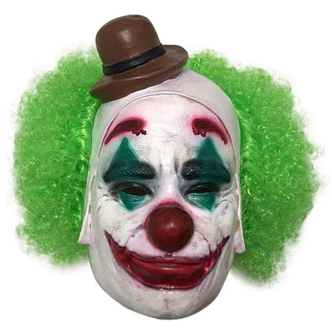 2019 Joker Scary Halloween Clown Mask with Green Hair Latex Joker Mask Clown Cosplay Props