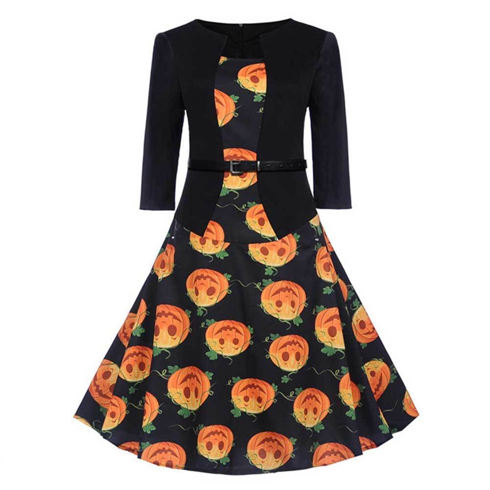 Women Halloween Dress Robes Vintage Pinup Three Quarter Sleeve Pumpkin Printed Office Swing Dress