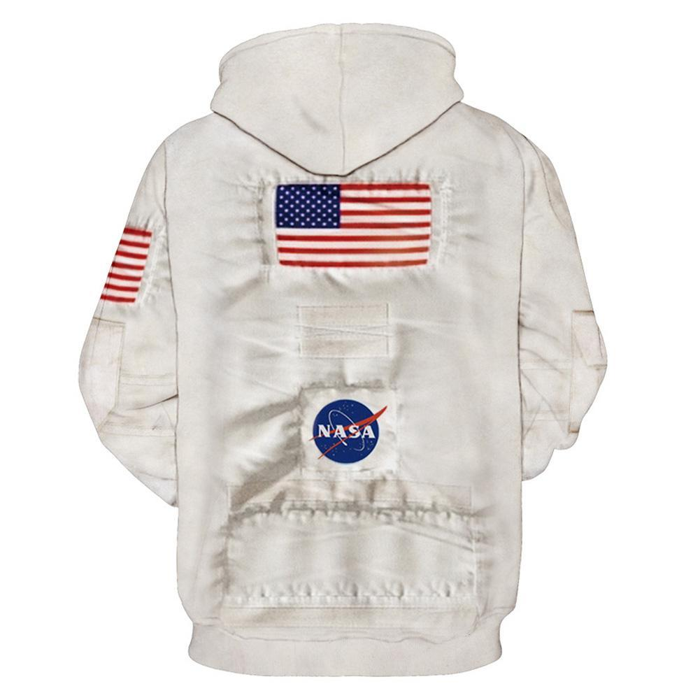 Adult Women Casual Astronaut Spacesuit Outfits Halloween 3D Armstrong Space Pullover Hoodies Sweatshirt