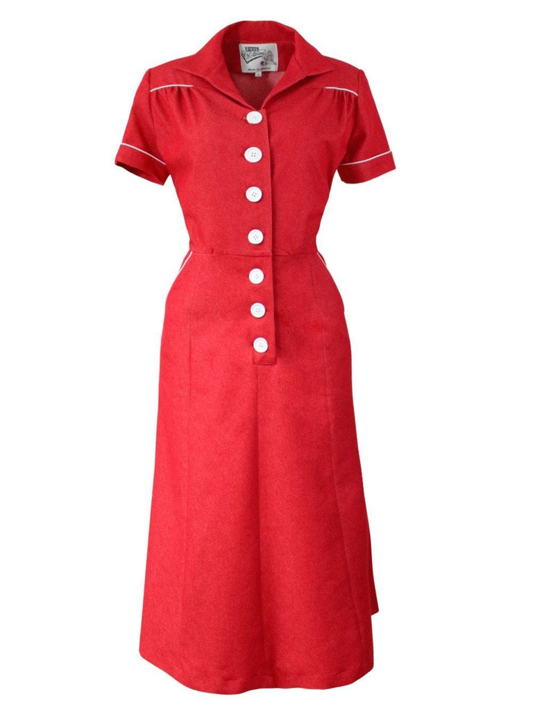 Red 1940s Botton Tea dress