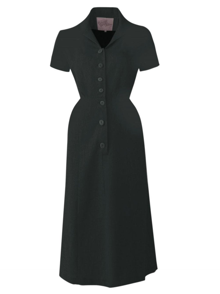 Black 1940s Botton Tea dress